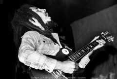 Bob Marley. July 7, 1978. Holland. Playing Gibson Les Paul guitar live performance concert at Ahoy Hall, Rotterdam, Netherlands.