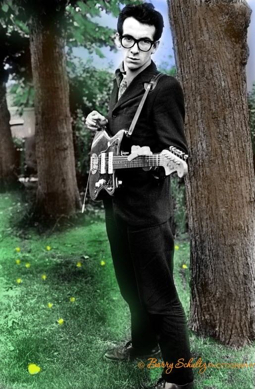 elvis costello, barry schultz, netherlands, radio, outdoor, guitar, rock and roll, 70s